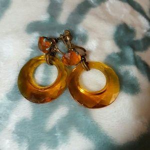 Vintage amber plastic screw back earrings